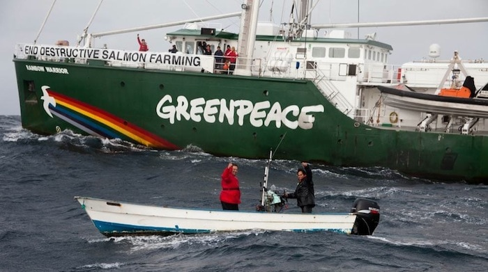 Greenpeace Rainbow Warrior welcomed by Tla-o-qui-aht First Nations near Tofino BC