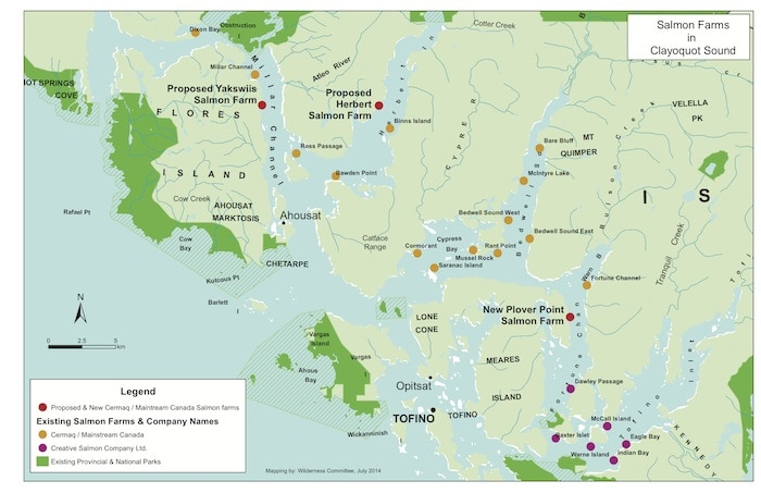 map of 2 new fish farms in clayoquot sound bc
