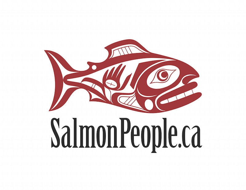 salmon people logo. artwork by Joe David, Tla-o-qui-aht First Nations